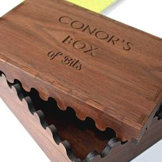 An engraved, personalised interlocking wooden box made from solid walnut. This Personalised Solid Wooden Keepsake Box is a perfect gift for anyone who needs a little help with tidyness. Do you know someone who can never find their keys, wallet or phone? This box is the perfect stylish solution. This Personalised Solid Walnut Interlocking Keepsake Box would make a great gift Anniversary, Birthday, Fathers Day or Christmas present. Large enough to house any modern phone, wallet, car keys…