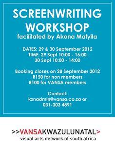 Screenwriting Workshop, 29th & 30th September 2012.