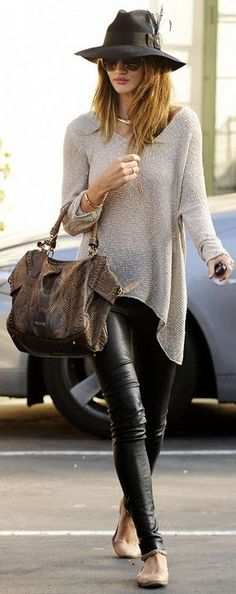 Leggings, a chunky knit sweater and ballet flats