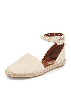 1bbfdbc1f46 Valentino Rockstud Leather Ankle-Wrap Espadrille