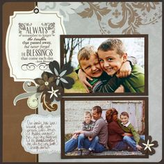 I love the neutrals and this a great idea for the times you only have two pictures to showcase.  #scrapbooking