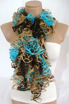 Hand knitted Camel,Turquoise, Brown ruffled scarf by Arzu's Style $19.90