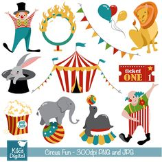 Circus Clipart - great for embroidery, scrapbooking, card design, invitations, stickers, jewelry, web design and more.