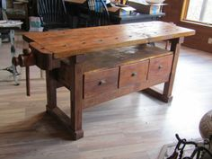 Vintage Carpenter / Cabinetmaker Workbench by IndustrialrepurpShop Workbench With Drawers, Tool Workbench, Woodworking Workbench, Easy Woodworking Ideas, Craftsman Furniture, Cabinet Makers, Carpenter, Wood Projects, Farmhouse Decor