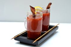 Bacon Swizzle Stick Bloody Mary by chris, tastesbetterwithfriends: Genius! (Just as good with the virgin version.) I love bloody Marys! Fun Drinks, Yummy Drinks, Yummy Food, Beverages, Refreshing Drinks, Tasty, Cheers, Bloody Mary, I Love Food