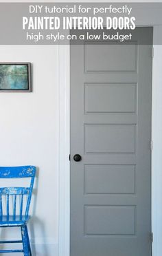Want to get a factory finish on your interior doors? Here are my tips for DIY perfectly painted doors! We chose a dark gray paint for our doors to act as a graphic impact to the white walls. Click over for the full list of tips and the tutorial!