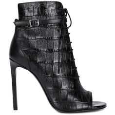 Celebrities who wear, use, or own Saint Laurent Croc Open Toe Booties. Also discover the movies, TV shows, and events associated with Saint Laurent Croc Open Toe Booties. Black Lace Up Boots, Short Black Boots, Leather Lace Up Boots, Black Heel Boots, Black Ankle Booties, Lace Up Booties, Lace Up Heels, Black Leather, Smooth Leather