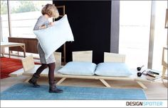 A special coating prevents the cushions from sliding along the wooden surface. Sofa, Couch, Floor Chair, Bean Bag Chair, Solid Wood, Woodworking, Cushions, Furniture, Greece