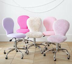 Round Upholstered Desk Chair, Chrome Base   Pottery Barn Kids