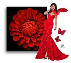 """""""Blooming Red"""" by kashmier ❤ liked on Polyvore featuring red, flower and leatherwooddesign"""