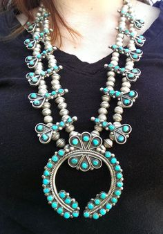 Vintage Zuni Squash Blossom Necklace by SouthwestFindings on Etsy, $1350.00