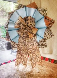 Tongan Tapa (ngatu) Funeral Wreath created for my Pops...R.I.L.