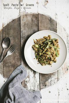 Spelt Pasta w/ Greens, Lentils, Sage + Lemon   Veggie num num