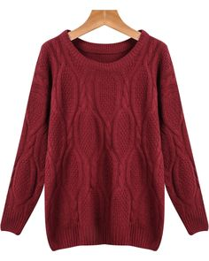 Wine Red Long Sleeve Loose Cable Knit Sweater 16.00