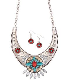 Another great find on #zulily! Silvertone & Coral Bib Necklace & Drop Earrings #zulilyfinds