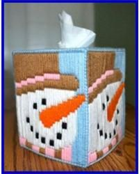 snowman plastic canvas pattern | Everything Plastic Canvas - Snowman Long Stitch Tissue Box Cover