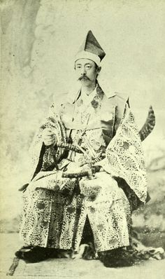 Japanese antique photograph. Matsudaira Tadanari (1850-1895).   He was a feudal lord of the Shinano Ueda feudal clan. Edo era / Meiji era.