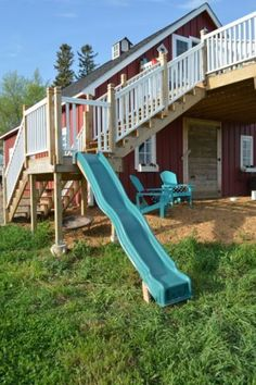 Make your own DIY slide from a deck platform. Cheap and simple - and you won't have to take down a whole playlet when the kids outgrow it.