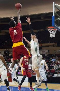 Pitt State's Devon Branch shoots a fade away jumper at the MIAA Mens Championship basketball game between Pittsburg State and Missouri Southern at Municipal Auditorium in Kansas City, Mo., on March 8, 2015. Pittsburg State won 91-65.