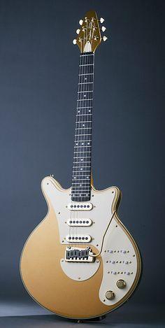 Brian May Red Special in Gold & White Guitar Shop, Music Guitar, Cool Guitar, Ukulele, Playing Guitar, Acoustic Guitar, Guitar Rack, Unique Guitars, Custom Guitars