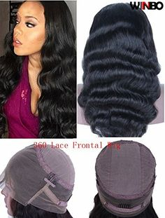 WINBOWIG 360 Frontal Wig Bodywave Brazilian Remy Human Hair Full Frontal Lace Wigs with Baby Hair for Women (12″, 360 WIG 130 Density)