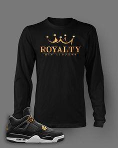 cfcf800be92 Long Sleeve T Shirt To Match Retro Air Jordan 4 Royalty Shoe Custom Mens  Tee Design