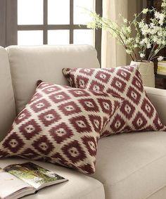 Look at this #zulilyfind! Marsala Ikat Throw Pillow - Set of Two #zulilyfinds