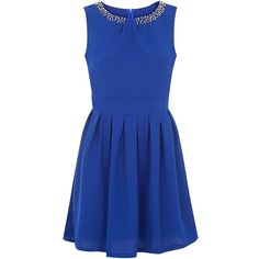 Mela Dark Blue Embellished Neck Skater Dress ($22) ❤ liked on Polyvore featuring dresses, embellished skater dress, deep blue dress, blue dress, blue fit-and-flare dresses and fit flare dress