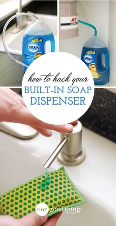 This genius hack for your sink's built-in soap dispenser means you won't have to refill it for MONTHS Bathroom Soap Dispenser, Soap Dispenser Ideas, Honey Dispenser, Küchen Design, Home Hacks, New Kitchen, Kitchen Sink, Kitchen Storage, Fun To Be One