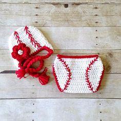 Crochet Baby Baseball Hat Beanie Braided Cap Girl Flower Red Diaper Cover Sports Set Newborn Infant Photography Photo Prop Handmade Gift