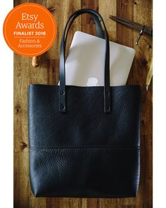 Black Leather Tote Bag  Hand crafted in Australia. by BlueandGrae