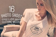 Check out 16 Women's White Apparel Mockups by ZedProMedia on Creative Market   16 Professional Photo Shoot Mockups in High res (5000x3333px) Ready for print or web. Easily display your designs on ready made photo shoots with real models.