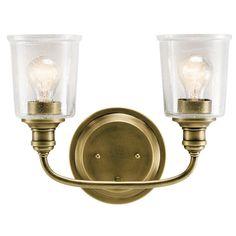 Kichler Lighting Waverly Collection 2-light Natural Brass Bath/Vanity Light, Gold (Glass)