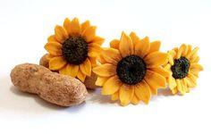 Sunflower Hair Pins Big Sunflower Hairpin by NikushJewelryArt