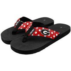 @Fanatics - #FanaticsWishList - Georgia Bulldogs Black-Red Polka Dot Flip Flops