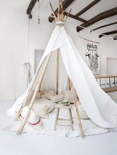 waiting tipi for our clients. light white wooden tipi of Sukha Amsterdam. Deco Kids, Home And Deco, Kid Spaces, My New Room, Play Houses, Kids Bedroom, Kids Rooms, Bedroom Ideas, Room Kids
