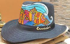 Sombrero pintado a mano..Peces..