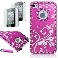 iPhone 4/ 4S ☆ピンクきらきらラインストーン、携帯ケース