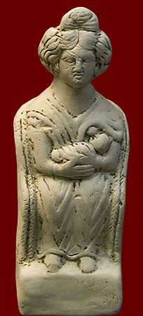 Nursing woman, a terracotta statuette, probably a votive in hope of/ thanksgiving for a successful childbirth. Roman, from near the military camp in Pförring, Bavaria. Munich, Archäologische Staatssammlung, 2nd century CE