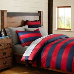 Rugby Stripe Duvet Cover + Sham, Navy/Red, PB Teen $69 for twin. Also in Navy/Green and Navy/Light Blue