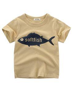 f80fcca05c7 Boys Colorblock Pocket T-Shirts 100% Organic Cotton Soft Tee - Khaki   Fish