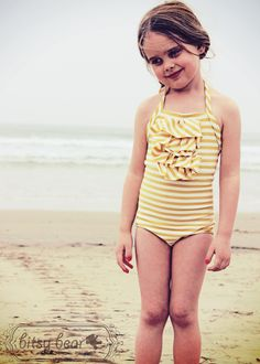 Golden Halter Swimsuit for toddler and girl by bitsybear on Etsy, $38.00 ADORABLE!