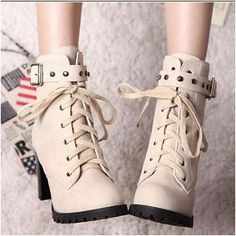 Colorful Shoes Studded Buckled Lace-Up Boots Women's Shoes, Cute Shoes, Me Too Shoes, Shoe Boots, Bootie Boots, Lace Up High Heels, High Heel Boots, Heeled Boots, Block Heel Boots