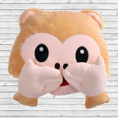 2017 Monkey Plush Toy Home Pillow Emoticonos Seat Cushion Emoji Pillow Emoji For Whats app No Saying No Looking No Listening