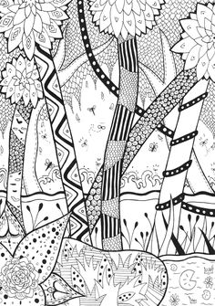 Creative Photo of Jungle Coloring Pages . Jungle Coloring Pages Forest Rachel Jungle Forest Adult Coloring Pages Forest Coloring Pages, Coloring Pages To Print, Animal Coloring Pages, Free Printable Coloring Pages, Colouring Pages, Adult Coloring Pages, Coloring Books, Doodles Zentangles, Zentangle Patterns