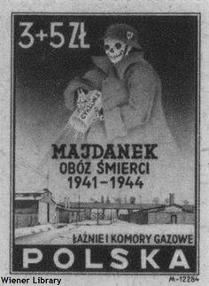 Polish postage stamp from 1946 commemorating Majdanek death camp.