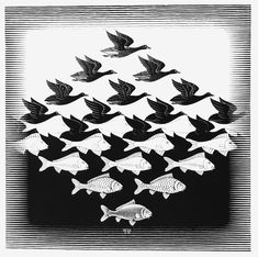 Sky and Water (woodcut), by M.C. Escher, 1938