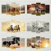 5-Delig Wandschilderij Paarden