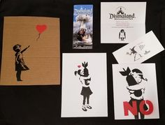 BANKSY Dismaland Original Free Art Souvenirs: Girl with Balloon, Bomb Hugger (2)