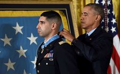 President Barack Obama bestows the nation's highest military honor, the Medal of Honor to Florent Groberg during a ceremony in the East Room of the White House in Washington, Thursday, Nov. 12, 2015.